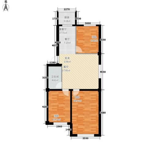 南山学府3室1厅1卫1厨99.00㎡户型图
