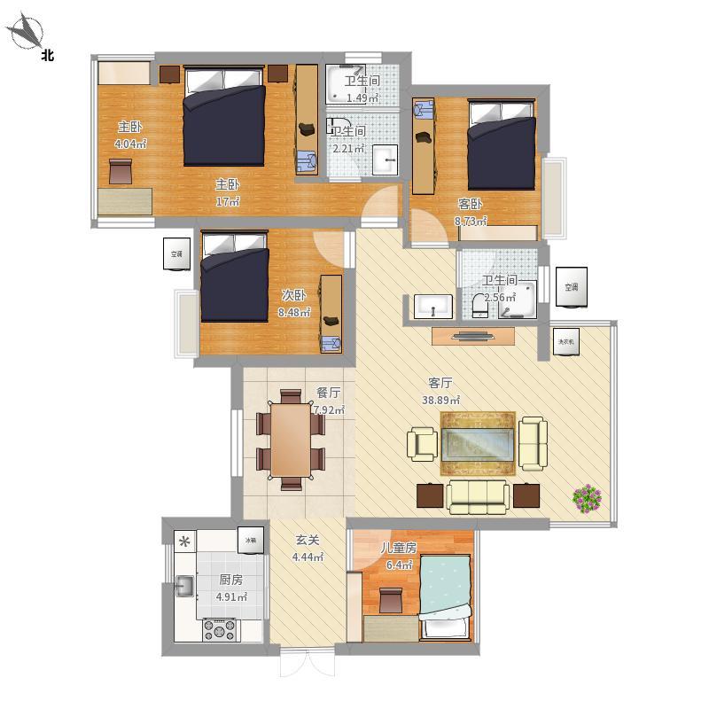 汉口湖畔3E户型3室2厅2卫3阳台改造后