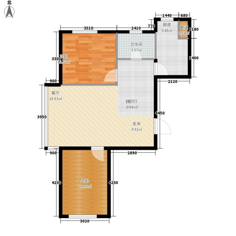 香江铂朗明珠78.71㎡高层C户型2室2厅
