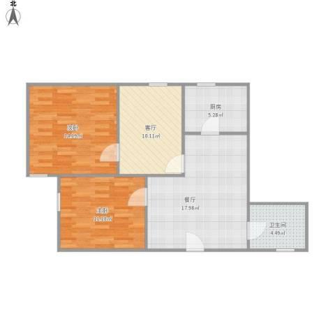 遵义西大楼2室2厅1卫1厨85.00㎡户型图