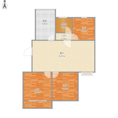 善景园3室1厅1卫1厨88.40㎡户型图