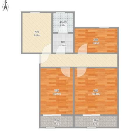 殷行路305弄小区3室2厅1卫1厨80.00㎡户型图