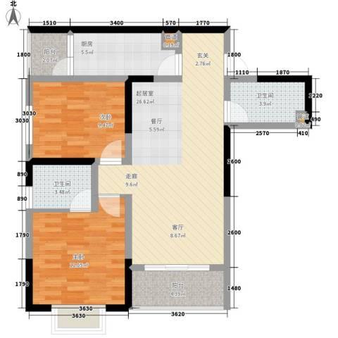 一城龙洲2室0厅2卫1厨73.00㎡户型图