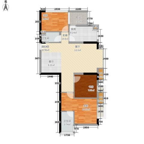 一城龙洲3室0厅2卫1厨84.00㎡户型图