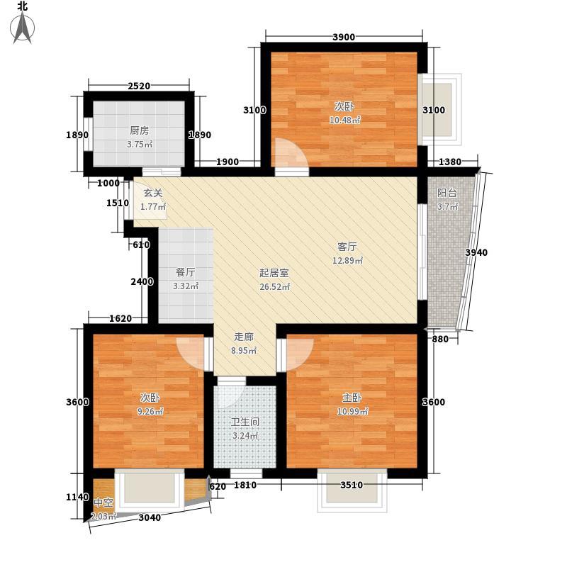 山水兰庭92.18㎡07+1-10+1户型3室2厅
