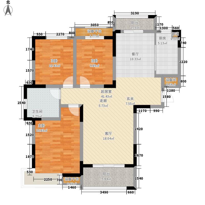 众发世纪城115.92㎡1-F户型3室2厅