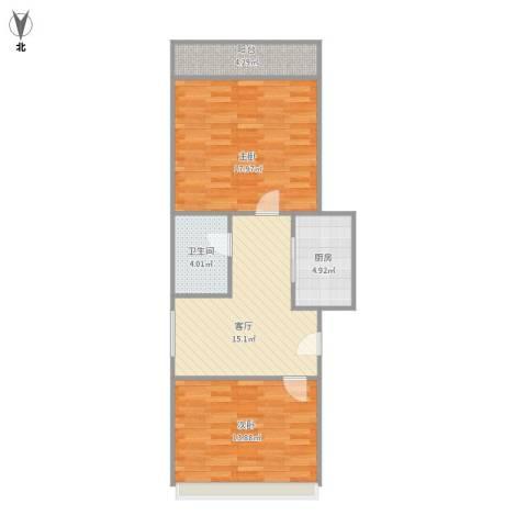 绿地新干线2室1厅1卫1厨81.00㎡户型图