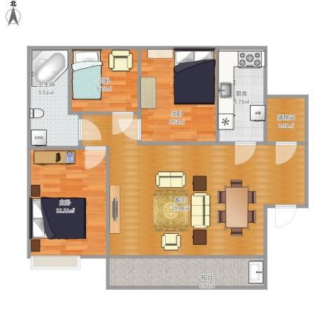 晨阳庄园3室1厅1卫1厨102.00㎡户型图