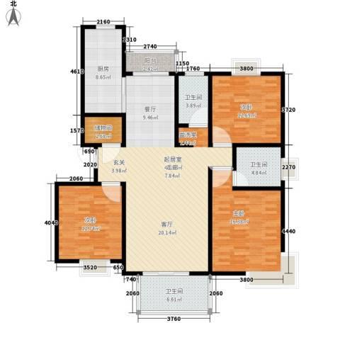爵仕悦恒大国际公寓3室0厅3卫1厨128.00㎡户型图