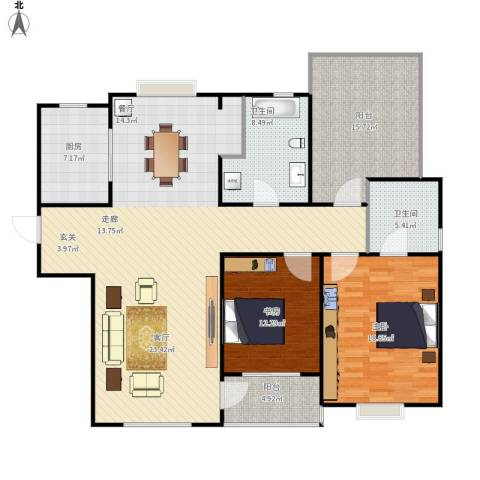 青山绿庭2室1厅2卫1厨170.00㎡户型图