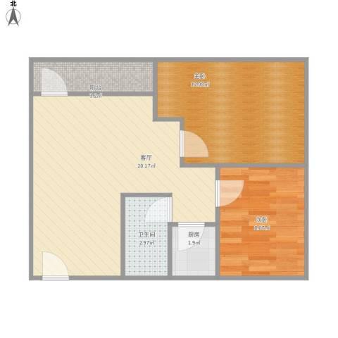 金侨花园2室1厅1卫1厨66.00㎡户型图