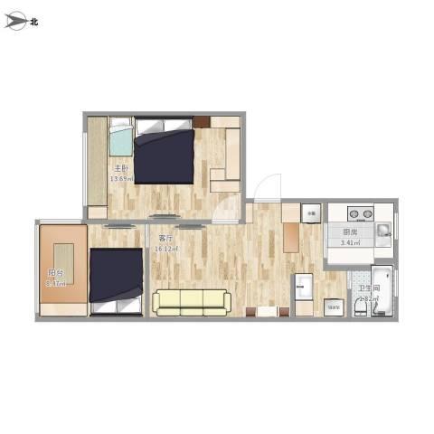 牡丹路399弄小区1室1厅1卫1厨59.00㎡户型图
