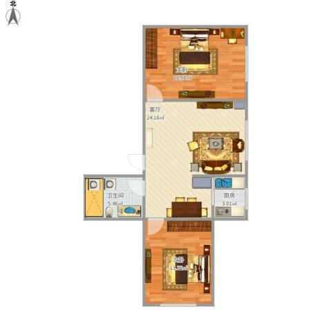 柏悦星城2室1厅1卫1厨84.00㎡户型图