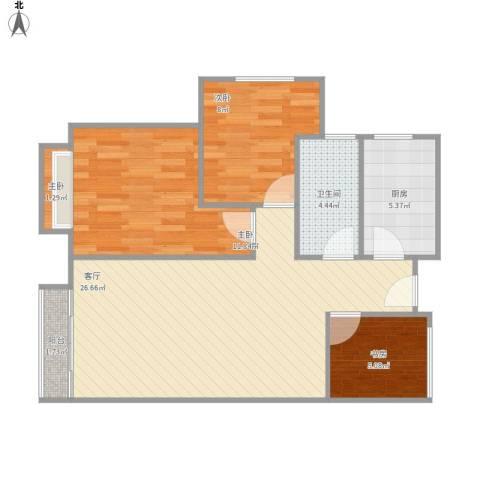 新城香溢紫郡4室1厅1卫1厨88.00㎡户型图