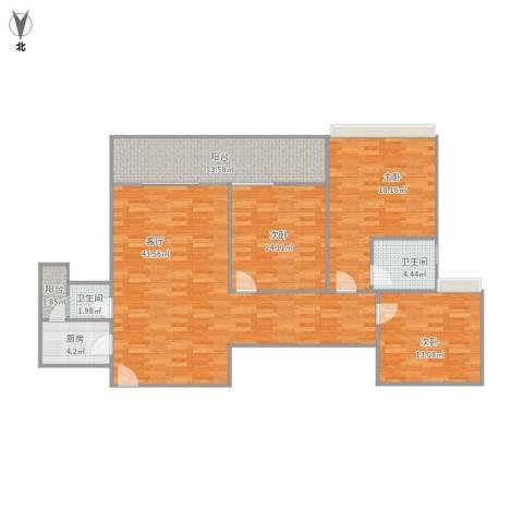 雅居乐熹玥3室1厅2卫1厨154.00㎡户型图