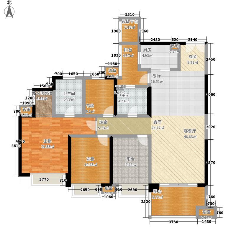 御龙天峰124.00㎡一期御林组团10号楼标准层A3户型