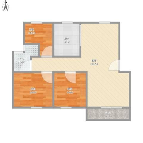 上大阳光乾静园3室1厅1卫1厨62.00㎡户型图
