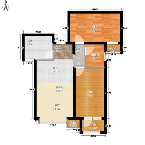 天成佳境2室1厅1卫1厨90.00㎡户型图
