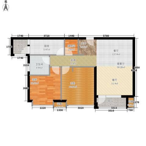 天成佳境2室1厅1卫1厨98.00㎡户型图