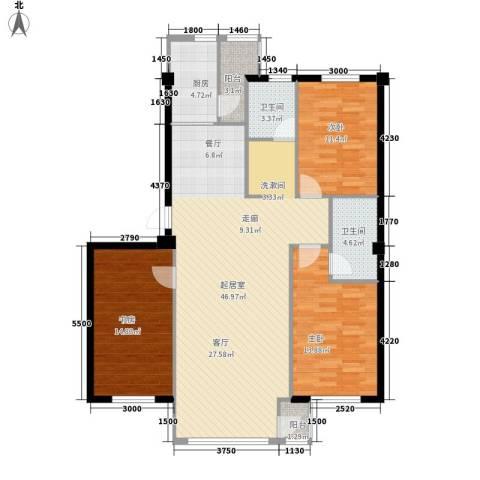 金地祥林书香苑3室0厅2卫1厨143.00㎡户型图