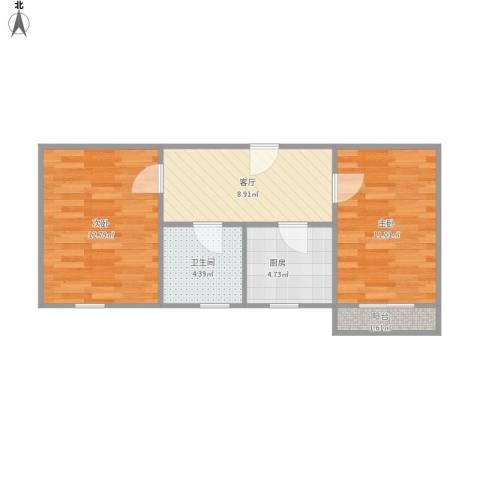 人乐三村2室1厅1卫1厨59.00㎡户型图