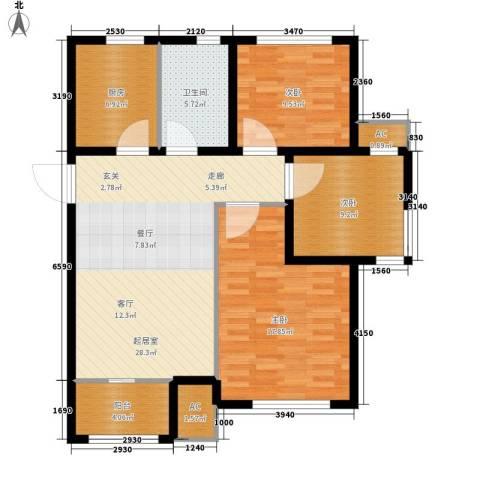 旭辉朗悦湾3室0厅1卫1厨92.00㎡户型图