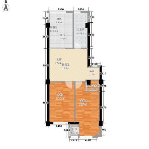 金地祥林书香苑2室0厅1卫0厨95.00㎡户型图