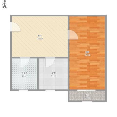 人乐三村1室1厅1卫1厨63.00㎡户型图