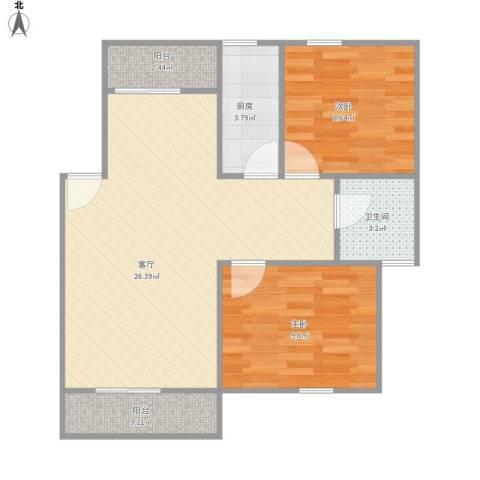 一品新筑苑2室1厅1卫1厨62.47㎡户型图
