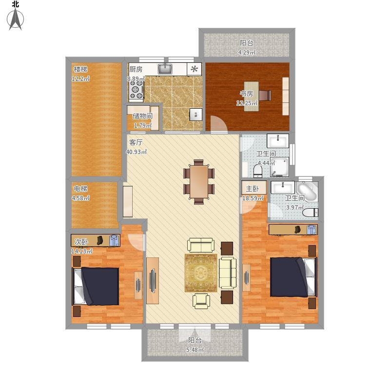 R户型三室两厅两卫127平枫丹白露