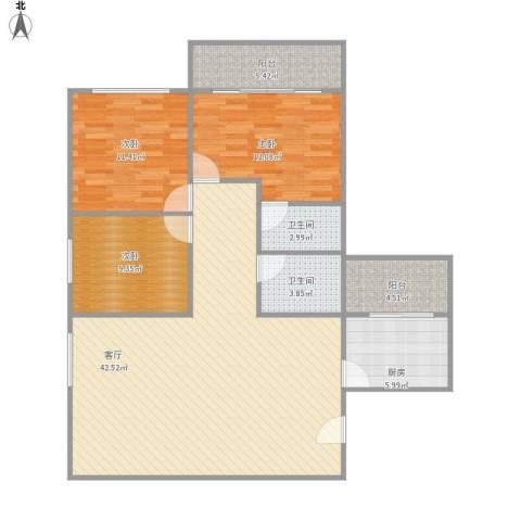 海印花园3室1厅2卫1厨132.00㎡户型图