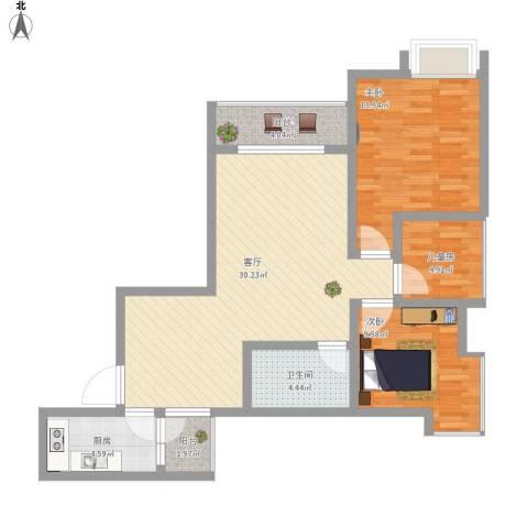 正升时代港湾3室1厅1卫1厨107.00㎡户型图