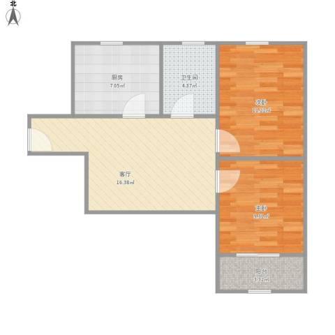景凤路205弄小区2室1厅1卫1厨70.00㎡户型图