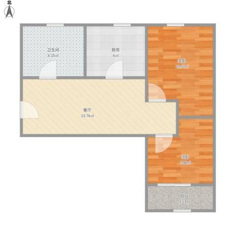 控江路645弄小区2室1厅1卫1厨67.00㎡户型图