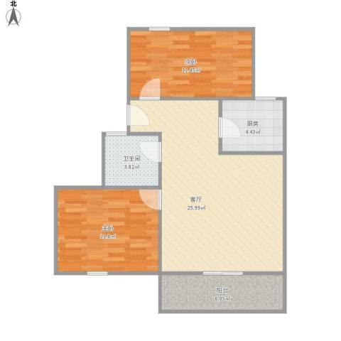 上浦路510弄小区2室1厅1卫1厨86.00㎡户型图