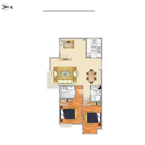 万达华府2室1厅2卫1厨155.00㎡户型图