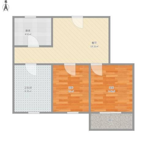 台益公寓2室1厅1卫1厨67.00㎡户型图