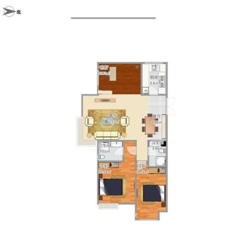 万达华府2室1厅2卫1厨104.00㎡户型图