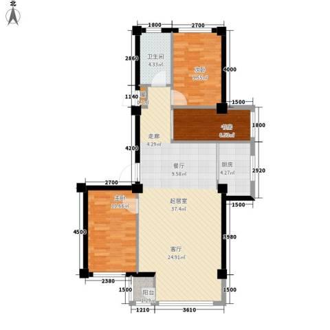 金地祥林书香苑3室0厅1卫1厨105.00㎡户型图