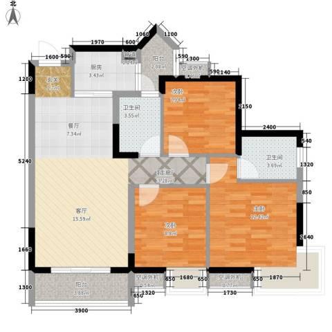 祺山・品阁3室1厅2卫1厨110.00㎡户型图