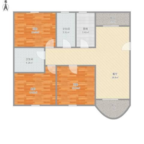 金桥一方3室1厅2卫1厨123.00㎡户型图