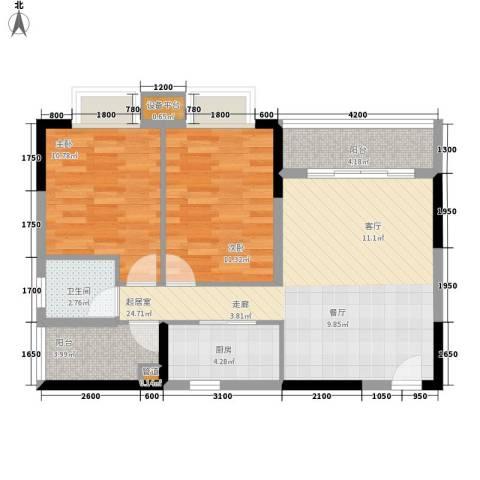橡墅2室0厅1卫1厨84.00㎡户型图