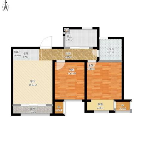 印象欧洲2室1厅1卫1厨91.00㎡户型图