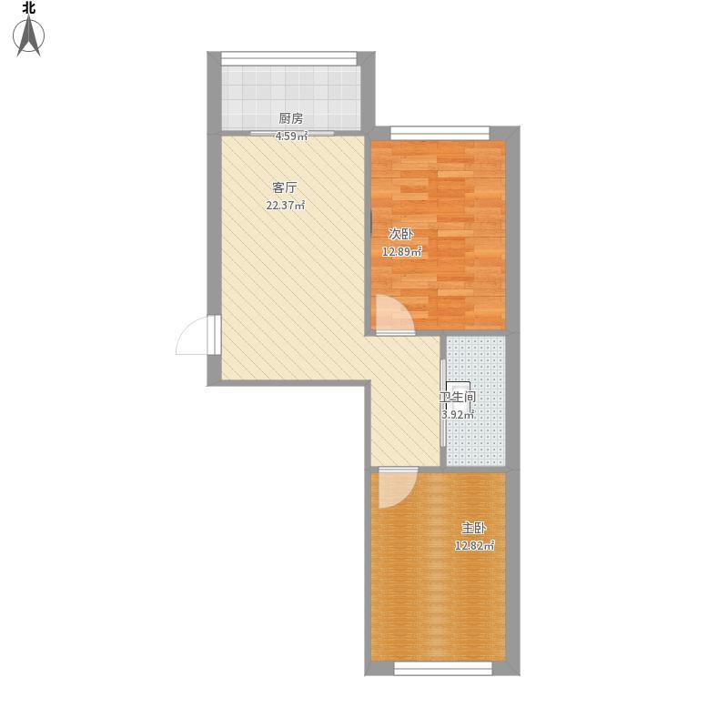 南北向两室一厅的方案3D图