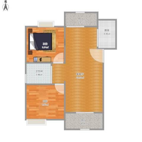 清风华园2室1厅1卫1厨75.00㎡户型图