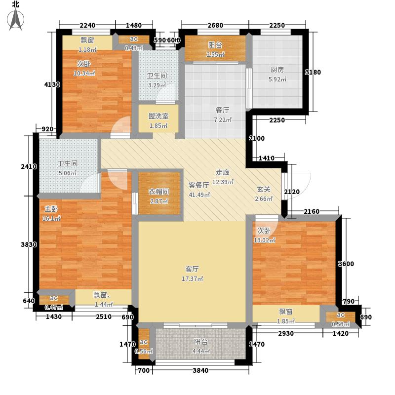 中国铁建国际城141.00㎡5#楼F户型3室2厅
