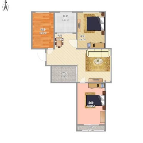 沈阳月星国际城3室1厅1卫1厨71.00㎡户型图