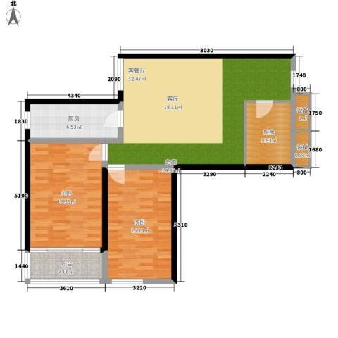 翰林雅居2室1厅0卫2厨92.00㎡户型图