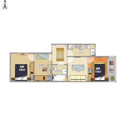 马连道5号院甲7号楼2室1厅1卫1厨66.00㎡户型图