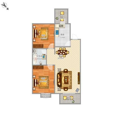 天成郡府2室1厅1卫1厨99.00㎡户型图